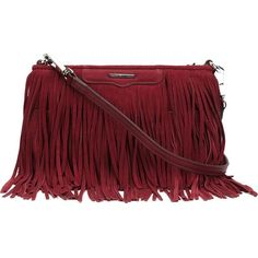 Rebecca Minkoff Fringed Cross-Body Bag ($195) ❤ liked on Polyvore featuring bags, handbags, shoulder bags, red, rebecca minkoff crossbody, leather crossbody, leather cross body purse, leather fringe purse and red leather shoulder bag