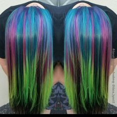 Galaxy inspired from - Galaxy inspired hair for Amy created using color intensities! Yellow Hair, Green Hair, Blue Hair, Vivid Hair Color, Hair Colours, Hair Inspo, Hair Inspiration, Oil Slick Hair, Joico Color