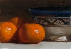Clementines and Moroccan bowl A Daily painting by Julian Merrow-Smith. 1-20-14 there's real juice there.
