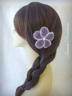 French Beaded Flower Hair Clip Alligator Clip by LaurenHCreations, $22.00