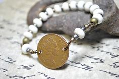 Coin and Howlite Bead Bracelet