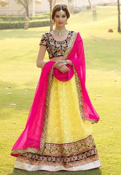 Yellow Faux Georgette Lehenga Choli with Dupatta
