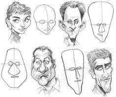 Positioning of facial features Drawing Cartoon Characters, Cartoon Sketches, Art Drawings Sketches, Cartoon Art, Character Sketches, Character Drawing, Character Illustration, Portrait Cartoon, Caricature Drawing