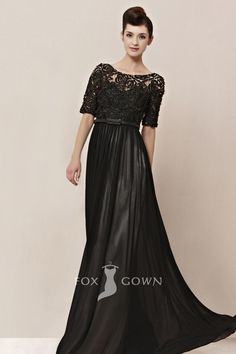 traditional black beaded lace bodice boat neck half sleeve a-line floor length formal dress