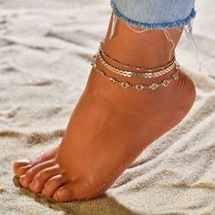 Fusskettchen Set Golden Crystal Fusskette Modeschmuck Sommer Trend Blogger  | eBay