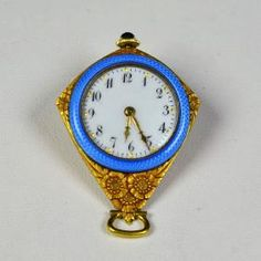 18 Ct Gold And Enamel Pendant Shape Watch. Very Good