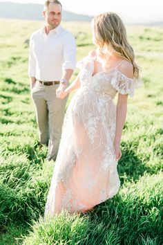 Spring maternity photoshoot in blush lace gown by Pink Blush Maternity, outdoor fine art film photos Couple Pregnancy Photoshoot, Maternity Dresses For Photoshoot, Spring Maternity, Maternity Gowns, Pink Blush Maternity, Maternity Fashion, Maternity Shoots, Maternity Style, Couple Shoot