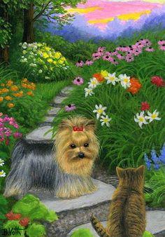 Yorkshire terrier dog tabby kitten cat summer garden original aceo painting art #Realism Bridget Voth
