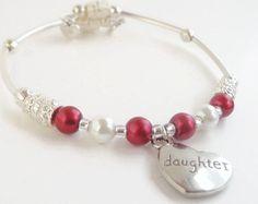 Heart Bracelet Red and White Pearl Memory by AdalynnJadeStudio