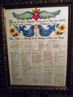Contemporary Quaker Marriage Contract - Large. $150.00, via Etsy.