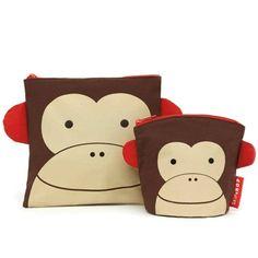 Skip Hop Zoo Little Kid Reusable Sandwich and Snack Bag Set