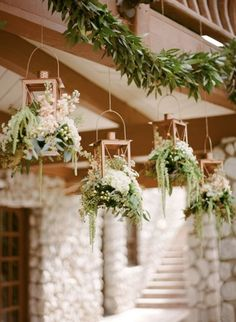 These hanging lanterns make for a pretty wedding vibe // Rebecca Yale Photography, Inc. Floral Wedding, Rustic Wedding, Wedding Reception, Wedding Flowers, Forest Wedding, Dream Wedding, Wedding Day, Wedding Blog, Hanging Flowers