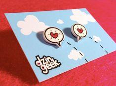 corazones - encogimiento plástico correos pendientes (plástico o acero quirúrgico posts)