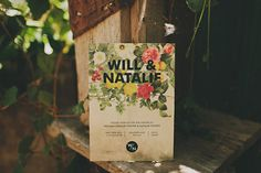 love the bold flowers in this wedding invite