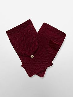 cable knit plush mittens | Calvin Klein