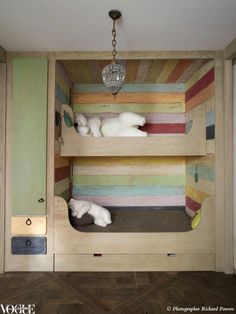 colorful bunkbeds. Cool idea for an accent wall as well
