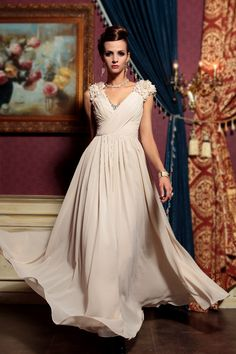Ivory A-line Floor Length Sleeveless Beaded Pleated Chiffon Prom Dress with Flowers on Strap