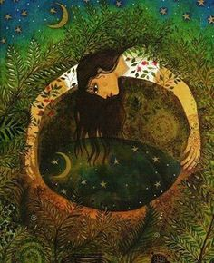 According to legend if a girl goes to a spring or well at midnight on Samhain and looks in the water, she will see the reflection of her future love. (Frog Prince art by Jane Ray) Art And Illustration, Wicca, Ouvrages D'art, Alphonse Mucha, Arte Popular, Samhain, Conte, Mother Earth, Mother Nature