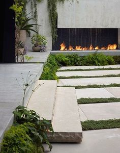Urban garden in the Russian Hill neighborhood, San Francisco with water/fire feature in one.
