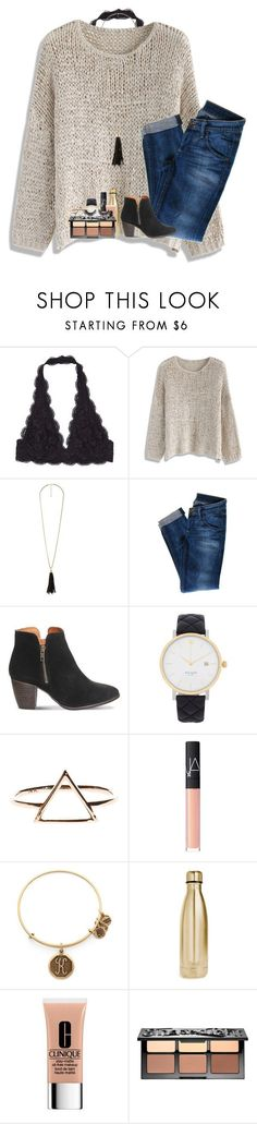 """2/2/17"" by kyliegrace ❤ liked on Polyvore featuring Chicwish, Charlotte Russe, Hudson Jeans, Office, Kate Spade, NARS Cosmetics, Alex and Ani, S'well, Clinique and Sephora Collection"