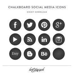 Chalkboard Social Media Icon Set Direct Download by BritPinesich, $3.00