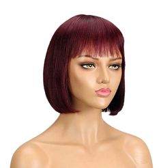 100% Remy human hair wig with soft, short, straight, 8 inch . Hair is easy to comb, glueless and has virtually no shedding. Wig uses classic cap with elastic lace, adjustable straps accommodates different size heads and allows easy application and removal, which makes it perfect for everyday use. Fits head circumference 22 inches.