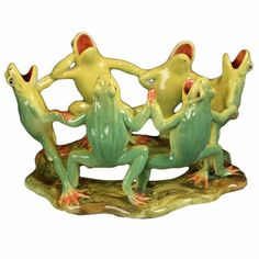 Majolica Grouping of Dancing Frogs by Delphin Massier, 1880-1910.