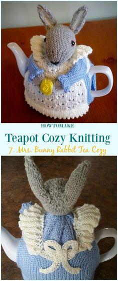 Mrs. Bunny Rabbit Tea Cozy Free Knitting Pattern - #Teapot; Cozy Free #Knitting; Patterns