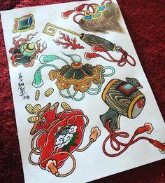 Traditional Japanese Tattoo Flash, Japanese Back Tattoo, Japanese Tattoo Designs, Traditional Tattoo, Lucky Tattoo, 1 Tattoo, Tattoo Studio Interior, Charm Tattoo, Fu Dog