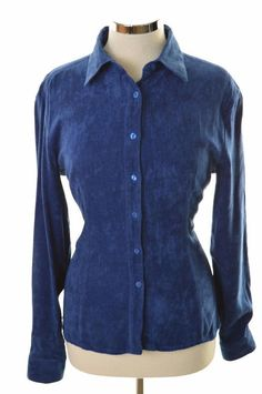 Versace Womens Velvet Shirt Blouse Medium Blue Viscose Polyester   £32.95 (BIN)