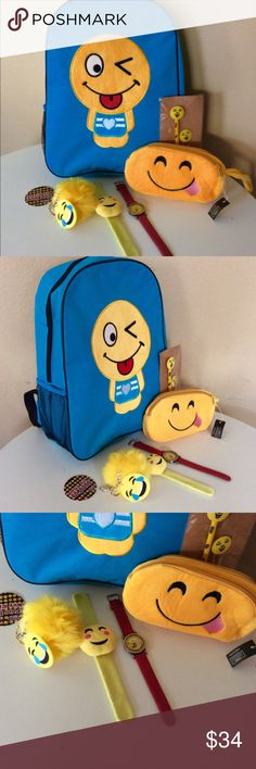 """EMOJI SCHOOL BACKPACK BUNDLE SET Brand new - last one so grab it before it's gone!  - Standard size 16"""" backpack has net pockets in each side to store water bottle  - Emoji pencil pouch with 2 separate compartments  - Emoji Red band watch - Emoji wristband - Emoji pencil with paper clips #backtoschool #emoji #emojobackpack Accessories Bags"""