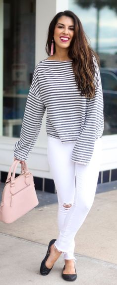 #summer #outfits Striped Top + Pink Leather Tote Bag + Black Flats + White Ripped Skinny Jeans