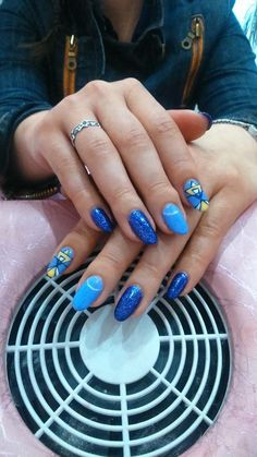 Nails, nail art, nail design, yellow nails, purple nails, spring nails, sparkling nails, summer nails
