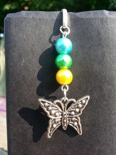 Blue Green Yellow Beaded Butterfly Charm Dangle by StoneCharms