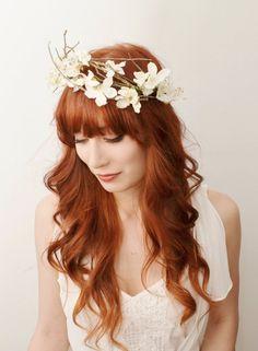 Bridal flower crown, white floral wreath, woodland headpiece, wedding accessories - Winter's queen. $125.00, via Etsy.