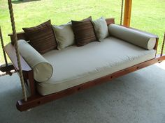 Custom Rustic Porch Bed Swing by Carolina Porch Swings . Outdoor Fabric, Outdoor Sofa, Indoor Outdoor, Outdoor Furniture, Outdoor Decor, Outdoor Spaces, Pergola Swing, Pergola Kits, Pergola Ideas