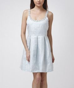 Loving this Mint Dot Pleated Fit & Flare Dress on #zulily! #zulilyfinds