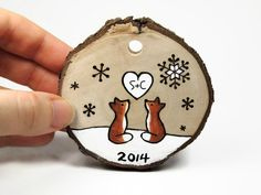 """Love Fox Personalized """"Our First Christmas"""" Ornament: Rustic wood burned tree slice by SimplyTwitterpated on Etsy https://www.etsy.com/listing/213317156/love-fox-personalized-our-first"""