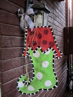Christmas Stocking Burlap Door Hanger by nursejeanneg on Etsy, $28.00