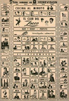 Grilla de programación del canal de TV Venevisión, del 10 de julio de 1966. Ad from 1966.