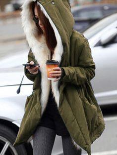 Women Winter Thicken Outerwear Parka Fur Hooded Coat Long Jacket