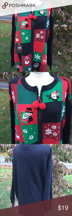Victoria Jones Christmas Cardigan Sweater Size 2X Size 2X. Super gently preowned Victoria Jones Sweaters Cardigans