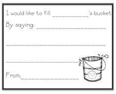 Have You Filled a Bucket Today Activities | bring home a bucket full of positive bucket filling notes