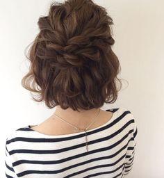 Half updo with double braids by Miyu Wada