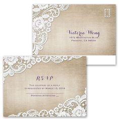 Invitations starting at 99¢! Shop Ann's Bridal Bargains for wedding invitations with FREE response postcards and enjoy beautiful options like the Burlap and Lace Frame design.