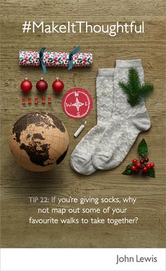 Discover thoughtful gifting tips from John Lewis this Christmas. If you're giving socks, why not map out some of your favourite walks to take together?  Visit John Lewis in store and online to shop our range of socks and other Winter warmers.