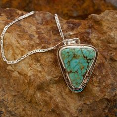 Triangular Number 8 Turquoise Sterling Silver Pendant - Black Arrow Indian Art  #Silver #Pendant