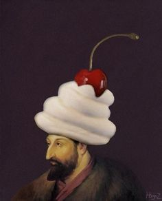 man with cherry on top
