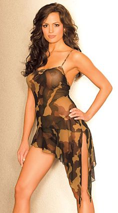 Channel your inner GI Jane in a sexy camouflage costume or camo bras, panties, dresses, stockings and more. Complete the look with army costume accessories. For the men, there are revealing camo boxers, briefs, men's thongs and more.