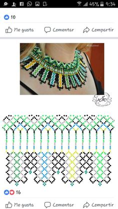 Netted broadcollar sold by Luloplanet. Beading Patterns Free, Beading Tutorials, Diy Necklace Patterns, Beaded Jewelry Designs, Fabric Jewelry, Handmade Beads, Jewelry Making Beads, How To Make Beads, Bead Art